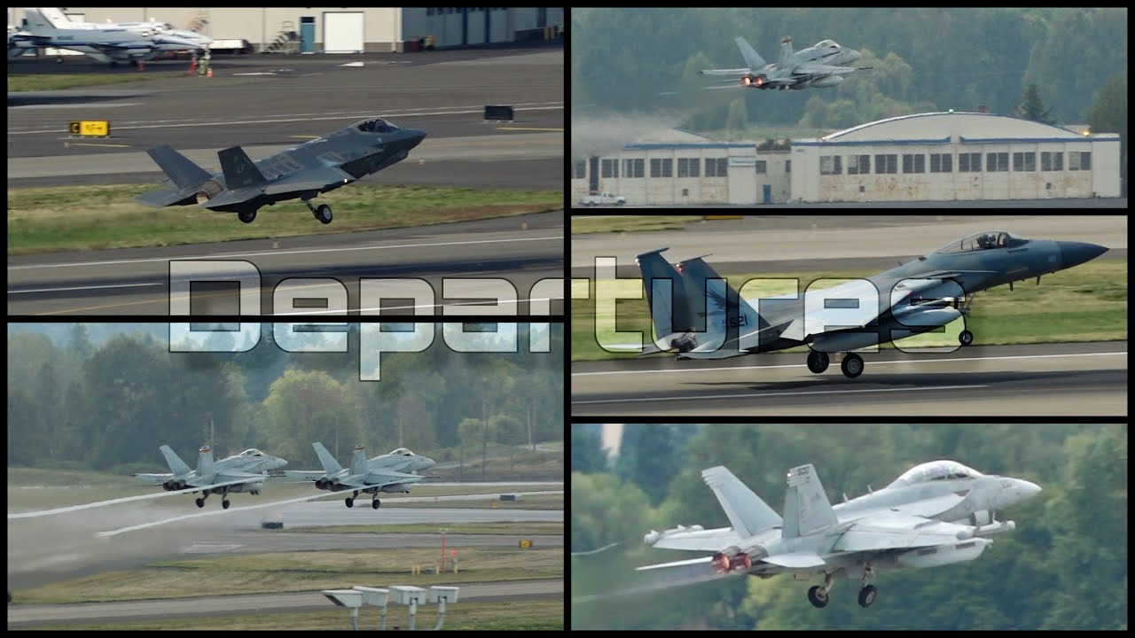Fighter Jet Departures From (PDX) Portland International Airport (3D Binaural Audio)🎧