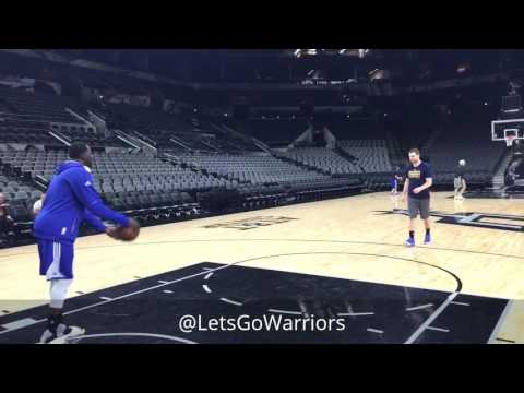 Thumbnail: Draymond messes around w/ asst coach Chris DeMarco as Durant watches, Warriors (3-0) practice SAS G4