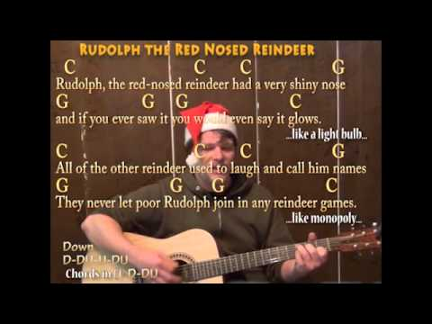 Rudolph The Red Nosed Reindeer (Christmas) Strum Guitar Cover Lesson ...