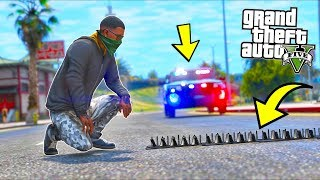 So I used Spike Strips on COPS!! (GTA 5 Mods - Evade Gameplay)
