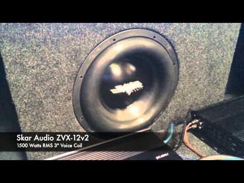 "Skar Audio ZVXv2-12 1500 WATT RMS 3"" Voice Coil Subwoofer Live Demo"