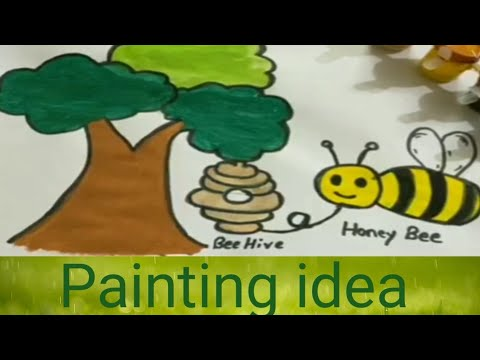 how-sto-draw-a-breehive-with-honeybee/painting-ideas:tree,honeybee-and-beehive/how-to-draw-a-beehive