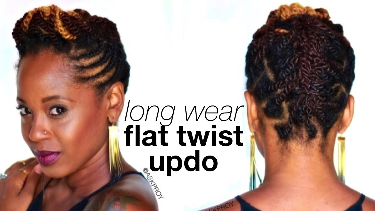 Long Wear Flat Twist Updo   Protective Style   askpRoy - YouTube