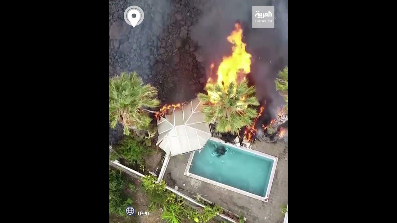 مشاهد مروعة للماء والنار.. حمم بركانية تغلي حول حوض سباحة  - نشر قبل 17 ساعة