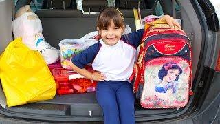 MEU PRIMEIRO DIA DE AULA REAL  Funny Kids Back to School, Дети играют в школу Video for Children