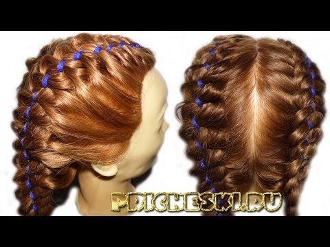 Плетение кос  Плетение кос с лентами, подробное видео