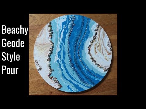 """Beachy Geode Style Acrylic Pour 