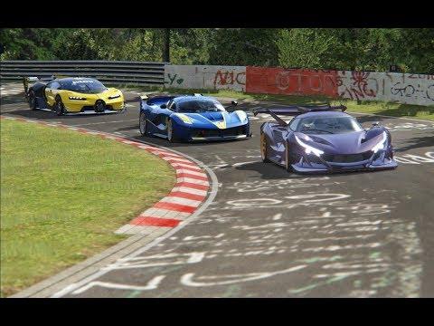 Bugatti Vision GT vs Apollo IE vs Ferrari FXX-K vs Ferrari Enzo at Nordschleife