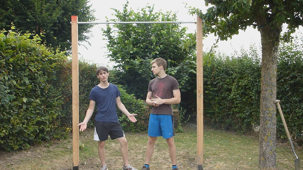 Diy pull up bar less than 50 youtube for Homemade pull up bar galvanized pipe