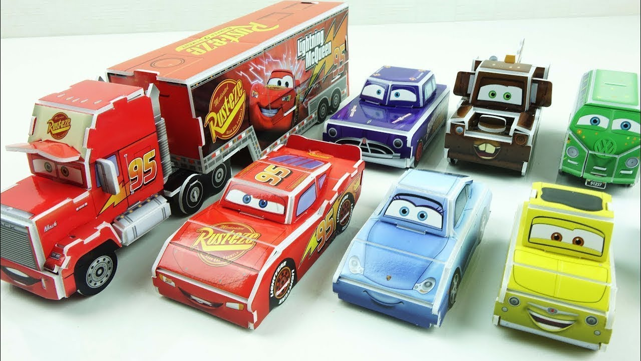 Learn Colors Cars Toy Disney Pixar Cars3 lightning mcqueen car Mack Truck  디즈니카 만들기 3d paper origami