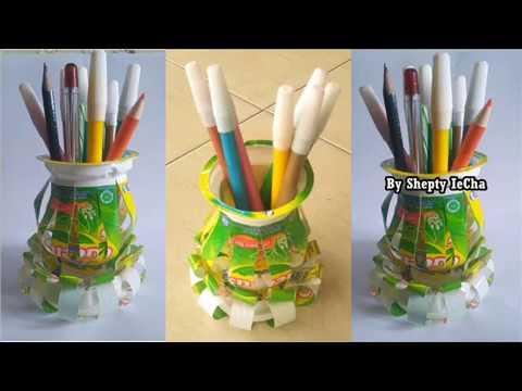 Ide Kreatif Dari Gelas Plastik Teh Gelas II Kreasi Kerajinan Teh Gelas Jadi Tempat Pensil