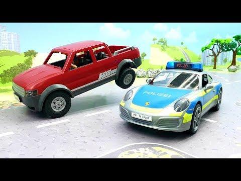 Мультики для детей - Новые мультики с игрушками Плеймобил - полицейская машинка и пикап - Сон!