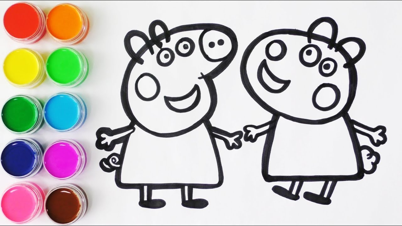 Como Dibujar Y Colorear A Peppa Pig Y A Su Amiga Susy Oveja
