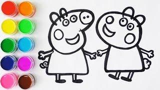 Como Dibujar y Colorear a Peppa Pig y a Su Amiga Susy Oveja - Colores Para Niños / FunKeep
