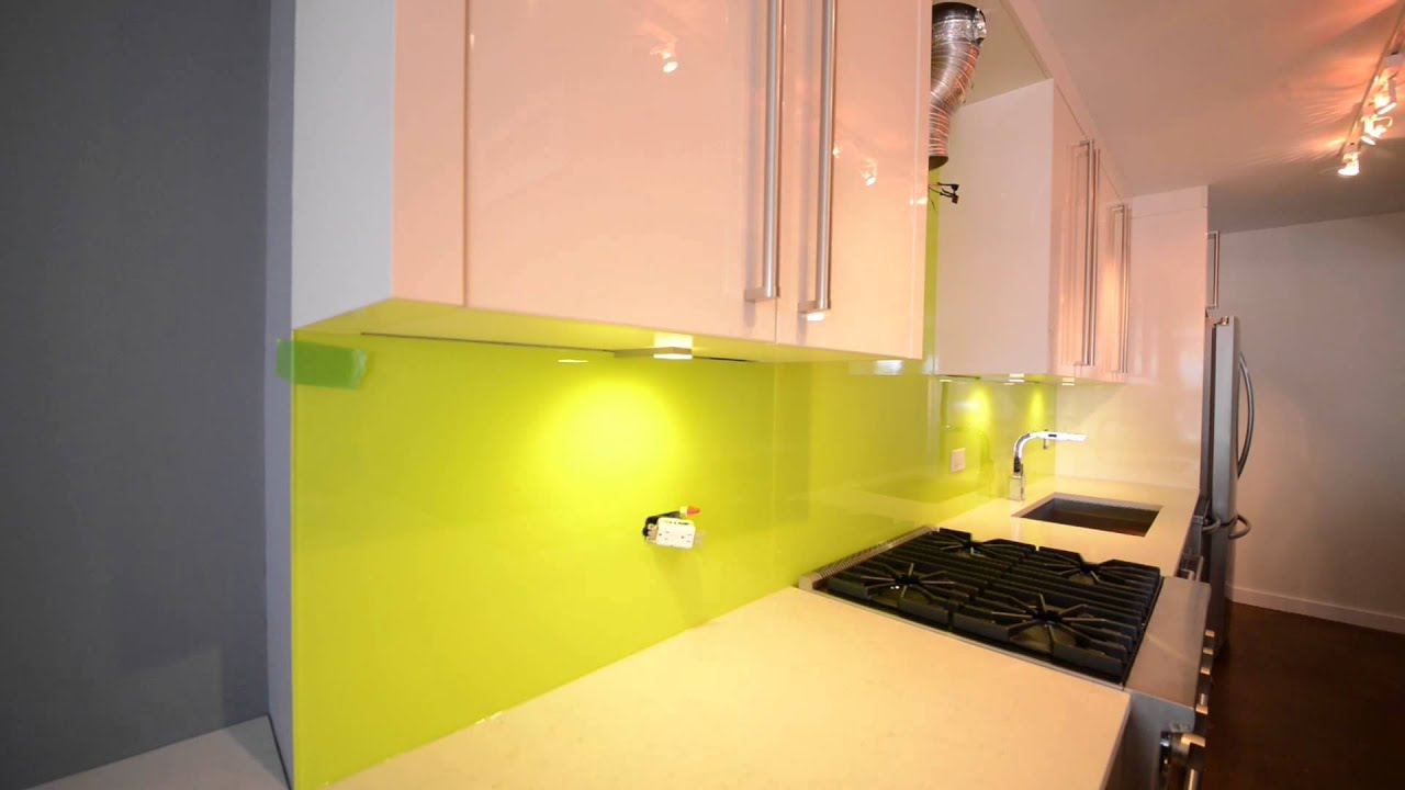 Kitchen Backsplash Yellow glass painted backsplash for kitchen, new york - youtube
