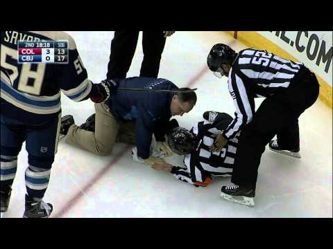 Gotta See It: Referee Rooney injured after taking puck to knee