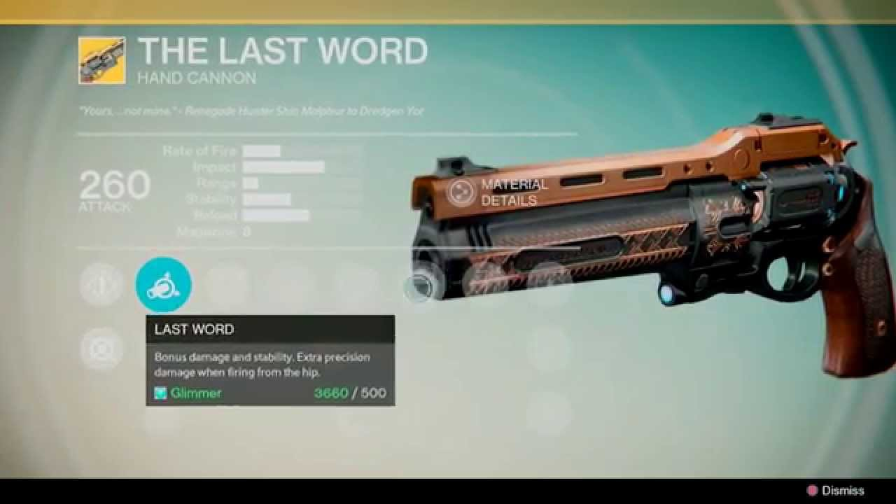 Destiny The Last Word Exotic HAND CANNON - YouTube