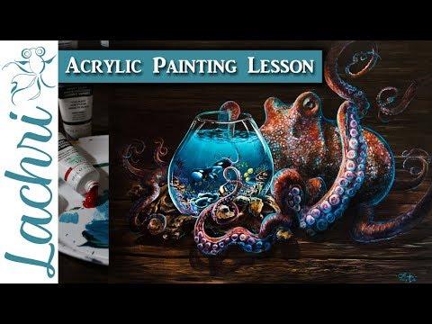 Acrylic Painting Lesson - Paint an octopus & orcas - Lachri