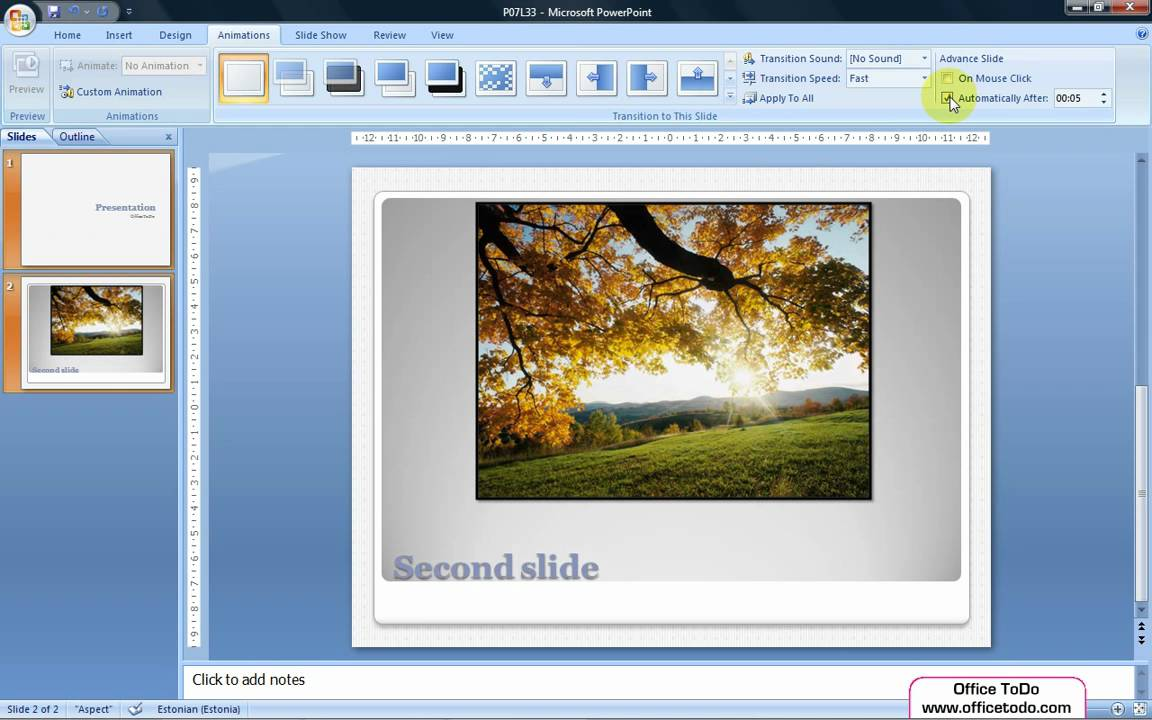 how to go to next slide automatically in powerpoint 2010
