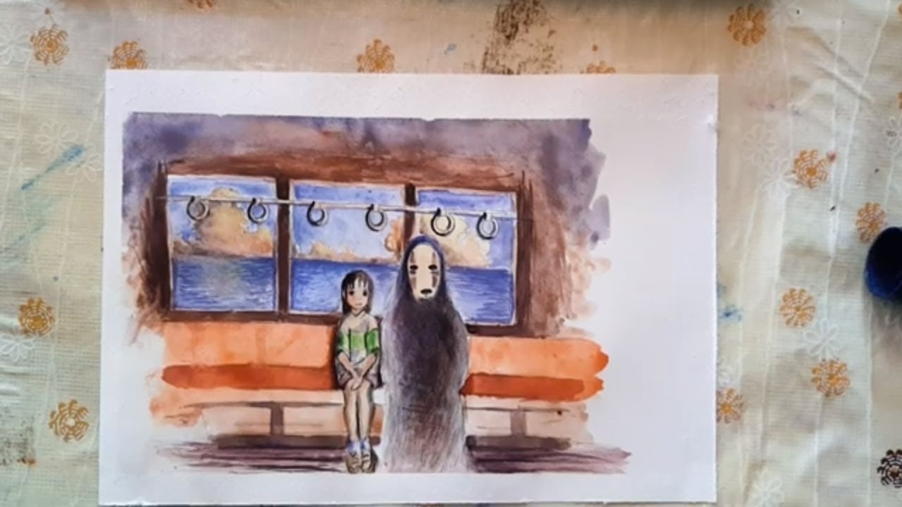 Watercolor Painting A Scene From Spirited Away The Train Scene Chihiro And No Face Youtube