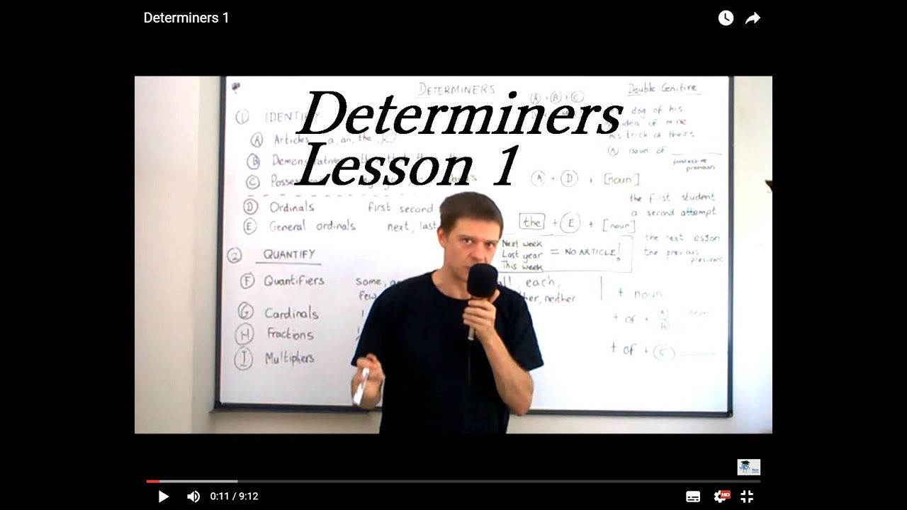 Determiners Lesson 1 Youtube