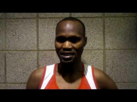 Central Missouri's Laban Sialo after Winning the 5,000 Meter Run