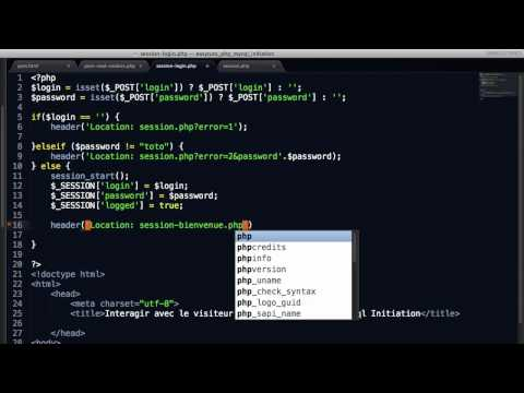 Les sessions. Interagir avec le visiteur , initiation PHP & MySql