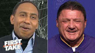 Ed Orgeron laughs at Stephen A.'s wrong LSU vs. Alabama prediction | First Take