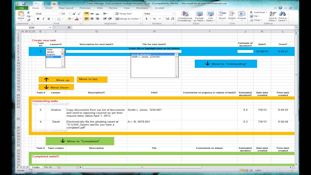 Excel spreadsheet for tracking tasks (shared workbook) - YouTube