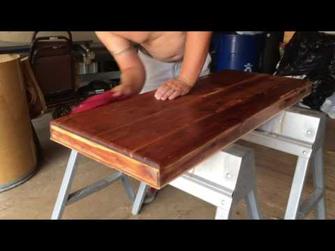 First coat of finish on cedar chest project