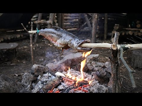 Catch n Cook - Spit Roast TIGER TROUT at The Bushcraft Camp