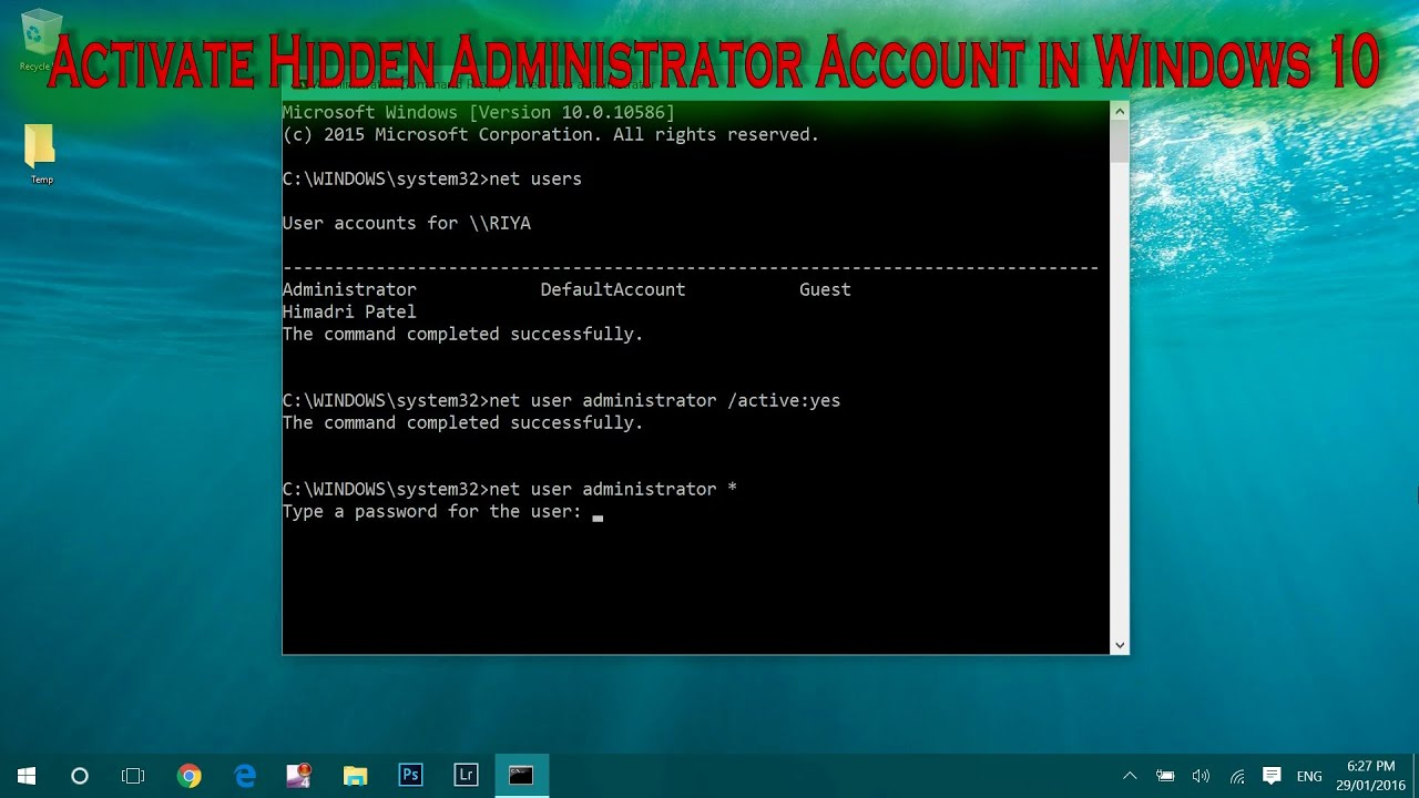 Windows 10 how to enable the hidden administrator account youtube windows 10 how to enable the hidden administrator account ccuart Choice Image