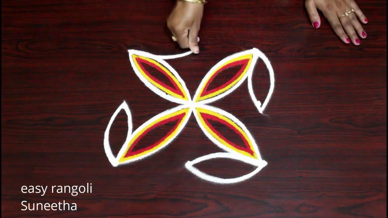 3 dots beginners rangoli kolam designs    easy muggulu    रंगोली