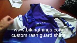 custom rash guard sublimated shirts, surf, running, swimming, uv ray protection shirt
