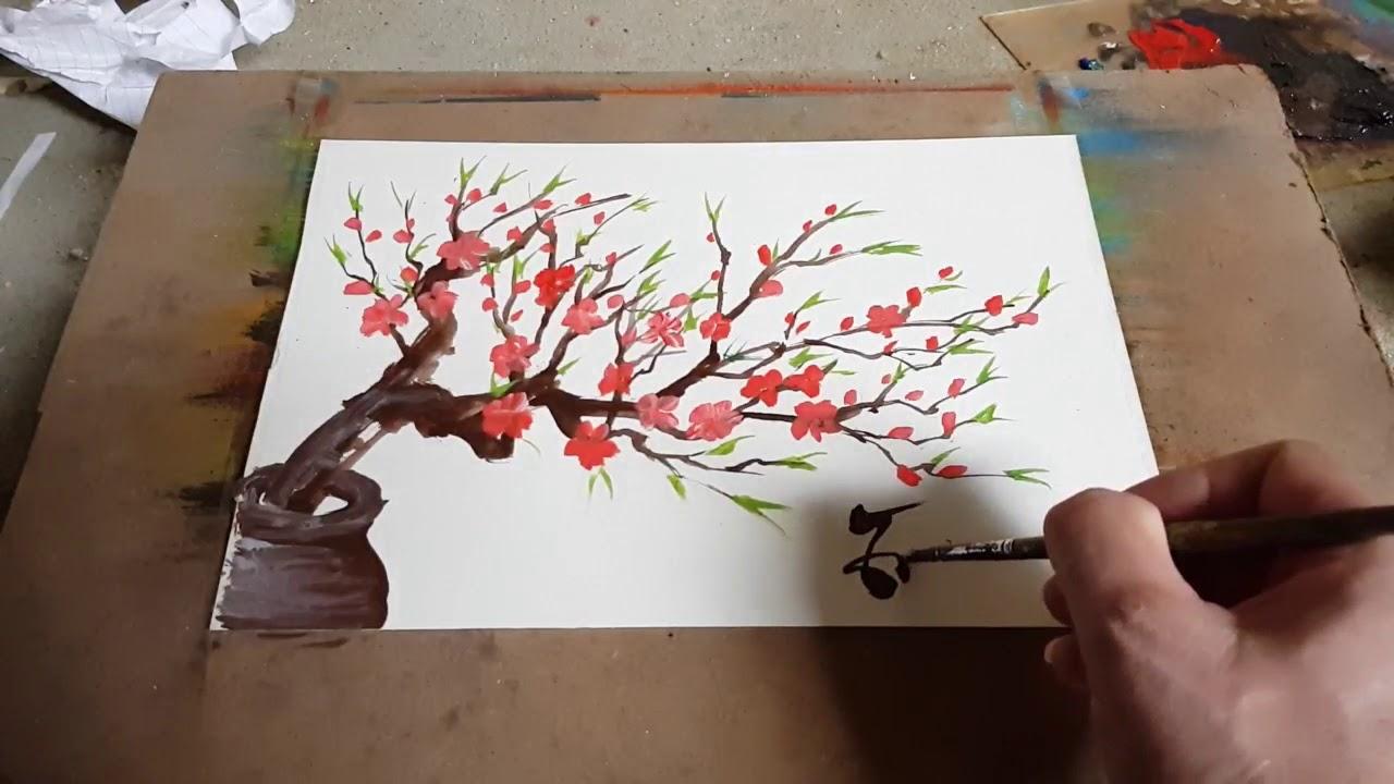 Cách vẽ Cành Đào đơn giản. How to draw simple peach branches