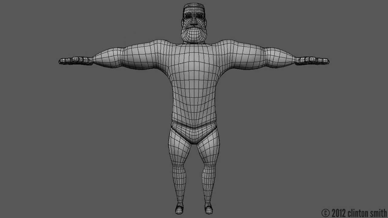 Superhero 3D Model/Wireframe Turntable
