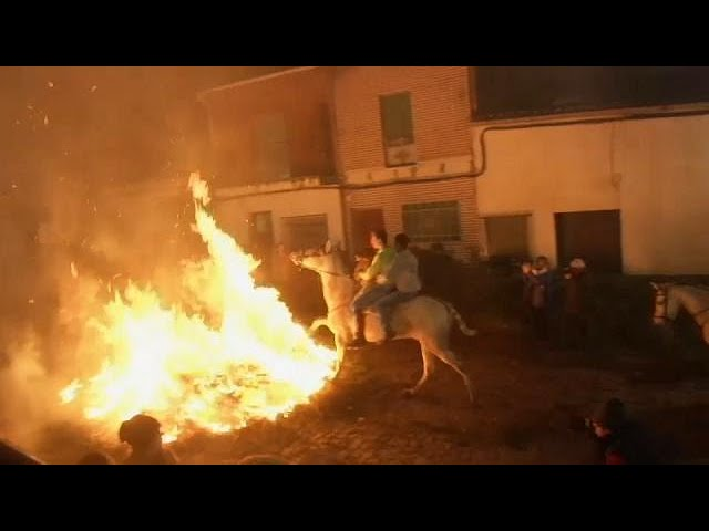 Horse riders trot through roaring flames to mark a 500 year old Spanish festival