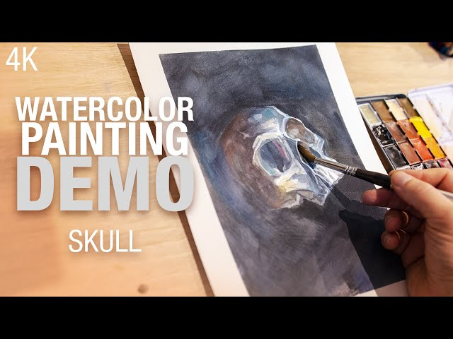 🎨💀  How to paint a skull in Watercolor 4K