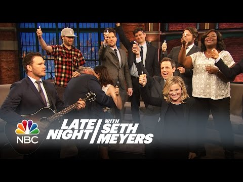 "The Parks and Recreation Cast Sings ""Bye, Bye Li'l Sebastian""  Late Night with Seth Meyers"
