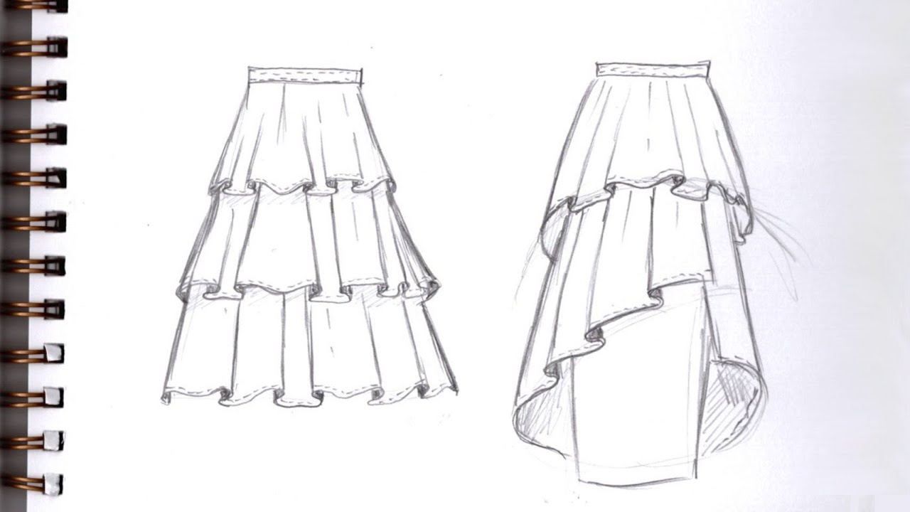 Download HOW TO  DRAW TIERED SKIRT WITH RUFFLES Step by Step Pencil Drawing Tutorial