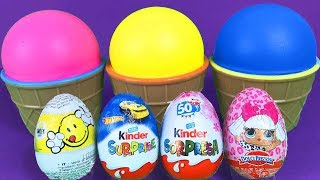3 Colors Play Doh Ice Cream Cups Yowie 5 Kinder Surprise Eggs Cars LOL Surprise Toys for Kids