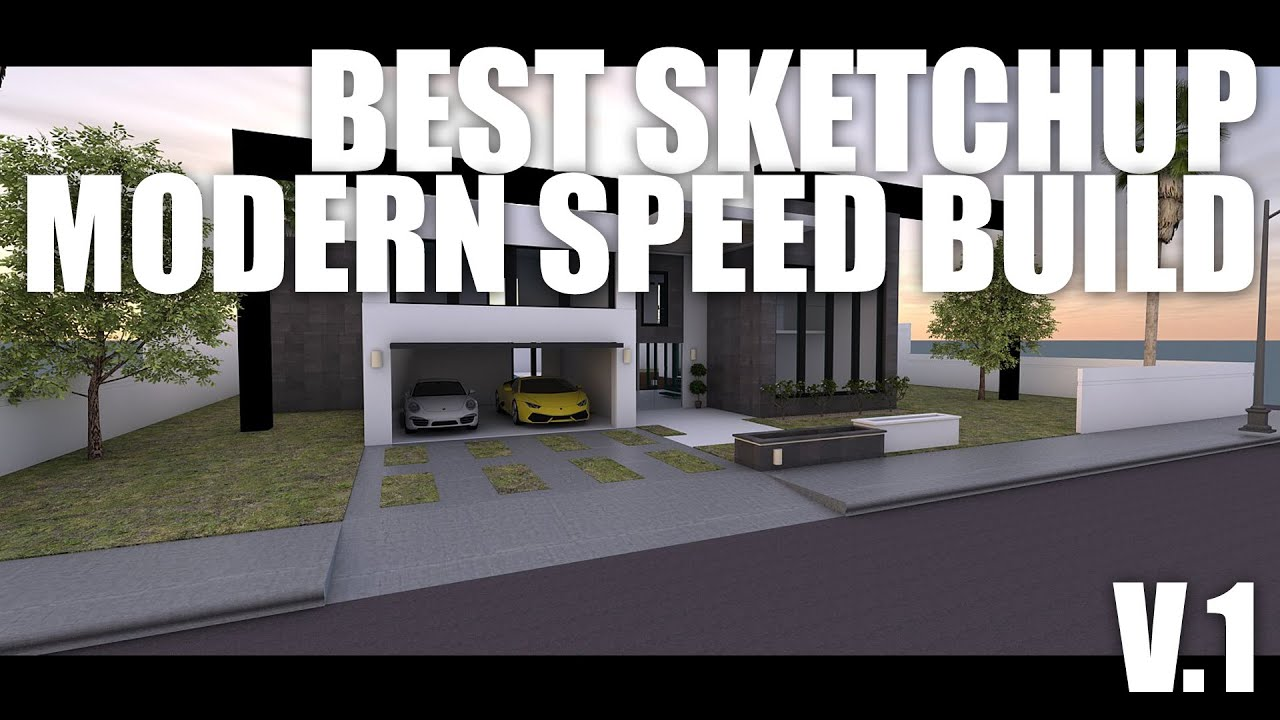 Best Sketchup Modern House Speed Build   YouTube Part 93