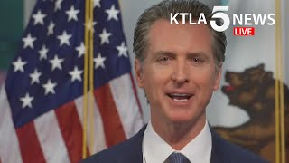 """Watch live: five days after ordering the """"hard close"""" of all state and local beaches in orange county to curb spread coronavirus, gov. gavin newsom on..."""
