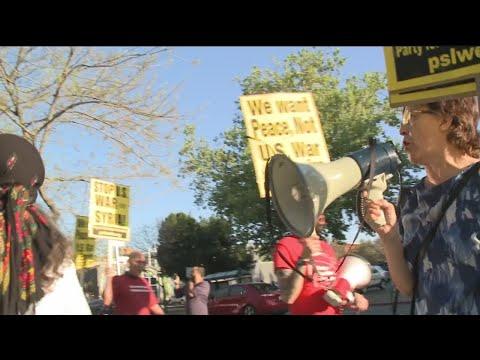 Sacramento Anti-War Protesters Voise Opposition To Air Strikes In Syria