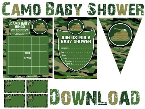 camo baby shower invitations,games and decorations, Baby shower