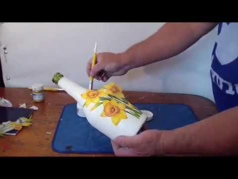 Craquelado sobre botellas youtube - Como decorar copas de cristal ...