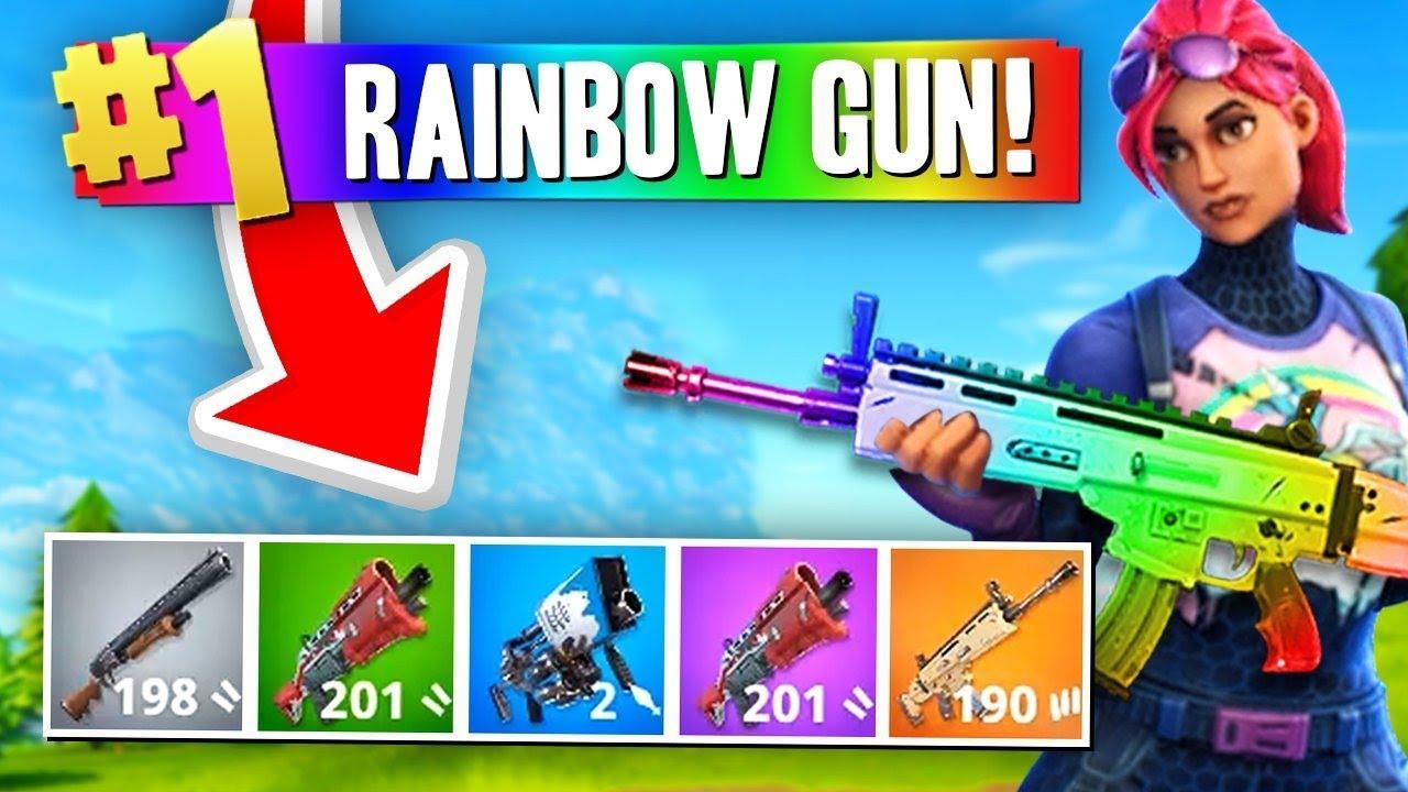 Fortnite Guns Solid Color The Rainbow Gun Challenge Fortnite Battle Royale Youtube
