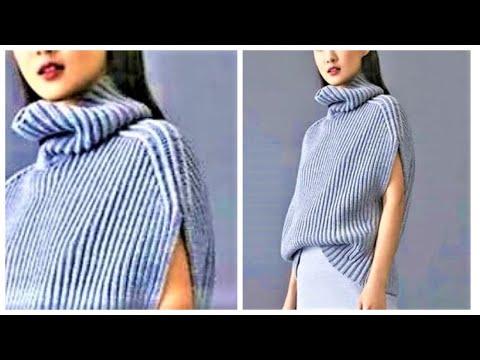 СТИЛЬНЫЙ БЕСШОВНЫЙ ЖИЛЕТ СПИЦАМИ. модное вязание. вязание спицами. готовые работы вязание
