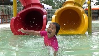 KEYSHA PLAYS WATER SLIDES IN THE SWIMMING POOL Kids Playing Water and Slide