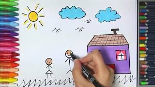 Ev ve Küçük Çocuk Çizimi ve Boyama  Çocuk ve Bebek için Çizim Dersleri  Çiziyorum Boyuyorum